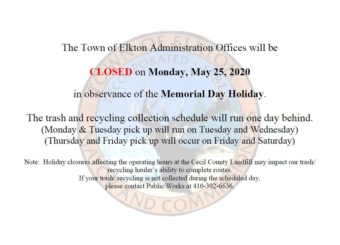 Holiday Notice on form with Town of Elkton Seal - Nature Scene with Elk